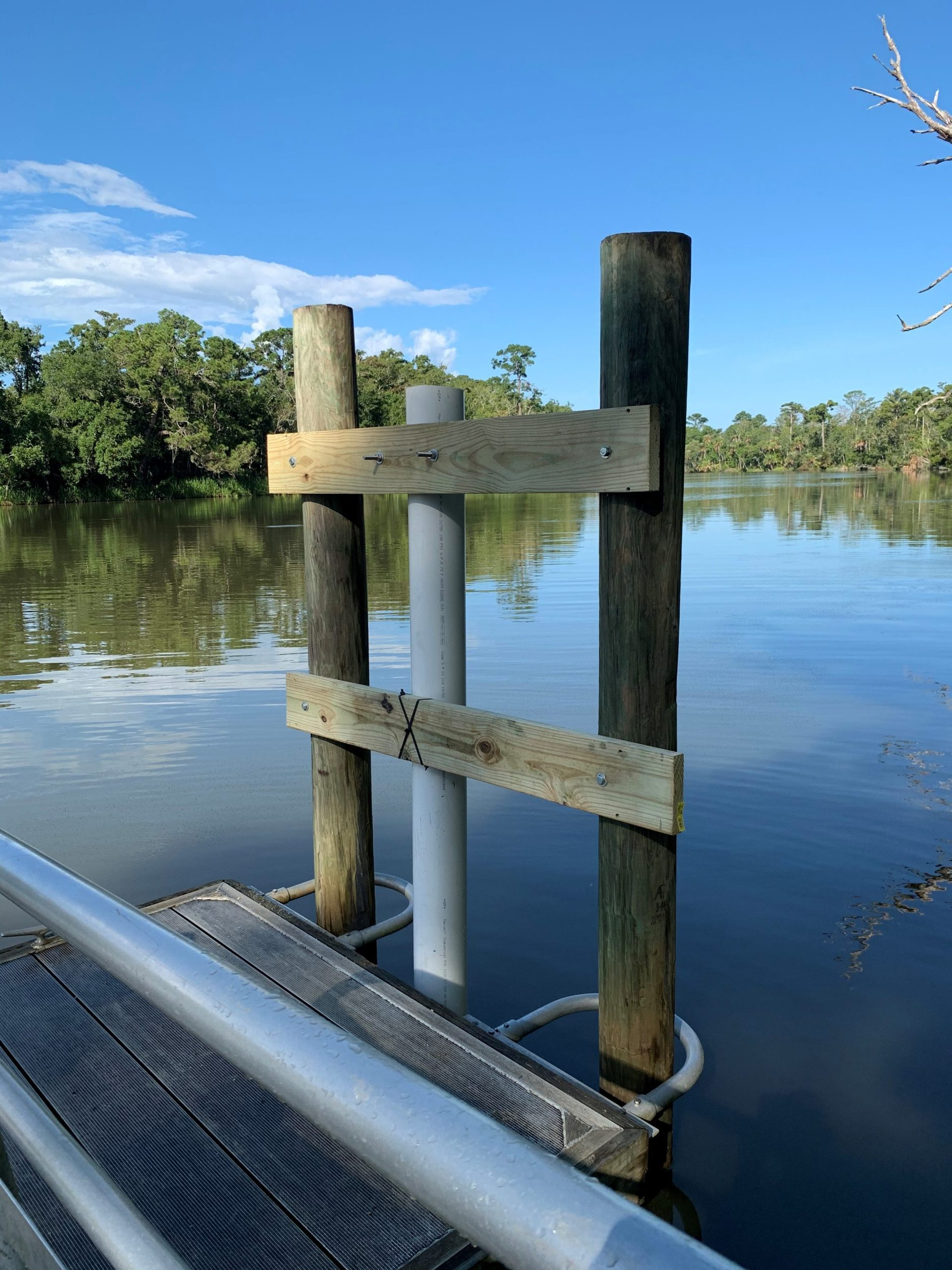 The newly installed water quality monitoring station at Butcher Pen Landing